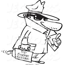 vector of a cartoon spy carrying top secret information coloring