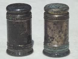antique silver shaker set w glass jars salt pepper shakers