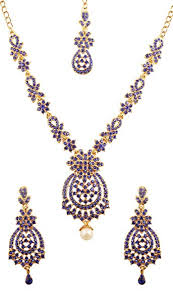 indian bridal jewelry necklace images Touchstone indian bollywood floral inspired faux blue jpg