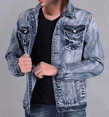 Rugged Wear Clothing Mstyle Mens Rugged Wear Distressed Washed Denim Bomber Jacket