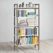 white bookcase wrightwood grey stain and white bookcase the land of nod