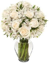 White Roses In A Vase Amazon Com Benchmark Bouquets Elegance Roses And Alstroemeria