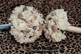 Seashell Bouquet Hand Made Seashell Bouquet Wiht Light Blue Pins For Beach And