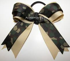 camouflage ribbon hair bows camouflage ribbon green black ponytail holder