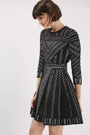 dress pattern fit and flare geometric pattern fit and flare knitted dress topshop