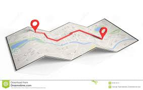 Map A Route by Folded Paper Map With Two Red Pointers Set On Route Stock