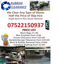 rubbish removals garden or garage clearace no to big or small