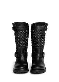 womens leather biker boots ash u0027tokyo u0027 stud leather biker boots in black lyst