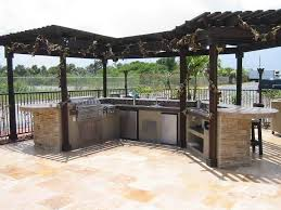 Prefabricated Outdoor Kitchen Islands by Awesome Decorating Ideas Using Rectangle Brown Wooden Tables In