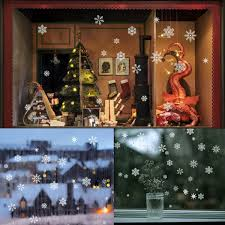 christmas window decorations 85 snowflake window clings christmas window