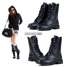 womens combat boots lace up flat biker army combat boots shoes