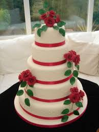 wedding cakes pictures five tier round red roses wedding cake