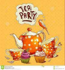Tea Party Invitation Card Tea Party Invitation Card With A Cupcake And Pot Stock Photo
