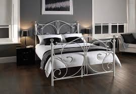 Double Metal Bed Frame Classical Christina Double Size White Metal Bed Frame Double Beds