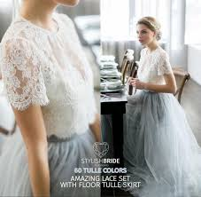 tulle for sale sale dress tulle set lace crop top with sleeves and tulle skirt