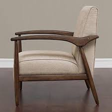 Retro Upholstery Mid Century Retro Accent Chair Beige Upholstery Walnut Finish