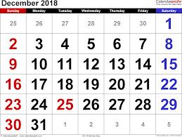 december 2018 calendars for word excel pdf