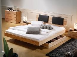 furniture black wooden platform bed with storage drawer and head