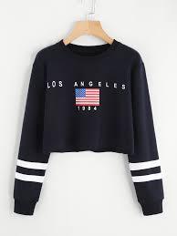 Flag Crop Top American Flag Print Varsity Striped Crop Sweatshirtfor Women Romwe