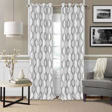 Beige And Gray Curtains Geometric Curtains Drapes Window Treatments The Home Depot