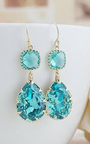 turquoise bridal earrings light turquoise swarovski with blue zircon glass dangle