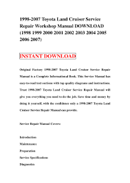 1998 2007 toyota land cruiser service repair workshop manual download u2026