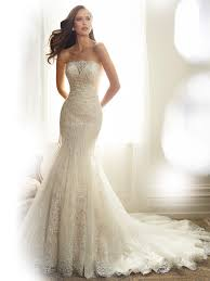 designer wedding dresses gowns fit and flare wedding dress with strapless neckline
