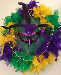 mardi gras feather boas mardi gras weath tuesday purple green and yellow tri color