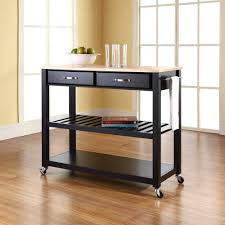 natural black colours wood kitchen island on wheels with optional
