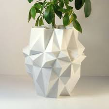 3d printed geometric planter pot modern planter large white 8 5