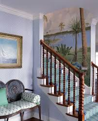 pretty coastal home staircase tropical with palm beach painted coastal home staircase tropical with painted wall mural white crown molding blue wallpaper