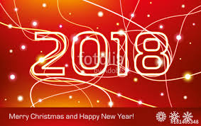 electronic new year cards merry christmas and happy new year 2018 glowing neon lines on a