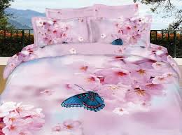 Cherry Blossom Comforter Sets Pink Pear Blossom With Butterfly 3d Print 4 Piece Cotton Duvet