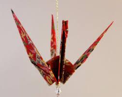 purple cranes in flight original origami peace crane ornament