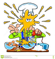messy cartoon chef cooking in the kitchen stock illustration