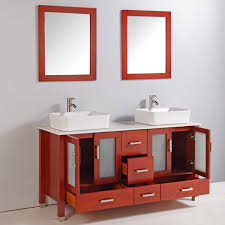 legion 59 inch modern bathroom vanity cherry finish with mirror