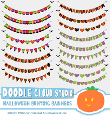 halloween background pack halloween colorful bunting banners cliparts pack patterned flags