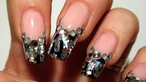 pink black and silver foil design for new year 2012 nail art
