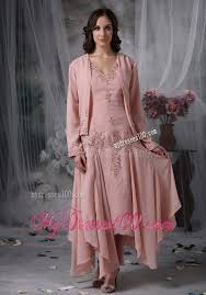 hem tea length mother bride dress in pink with appliques