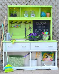 turn a thrift store dresser into a potting bench hgtv