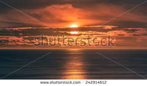 Pretty Orange Sunset Over Ocean Bright Orange Sun Stock Photo 242372626