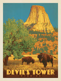 Wyoming travel posters images Anderson design group american travel devil 39 s tower wyoming jpg
