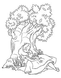 alice sleeping tree alice wonderland coloring