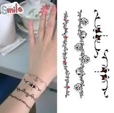 bracelet designs tattoo images Black bracelet rose cane vine temporary tattoo stickers body art jpg