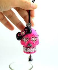 ornament skulls pirate day of dead charm hang rear view mirror