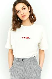dua lipa urban outfitters bdg embroidered japanese text t shirt urban outfitters japanese