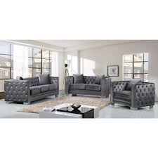 Tufted Living Room Furniture by Meridian Furniture 648gry S Reese Grey Velvet Sofa W Tufted Back