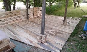 How To Make A Wooden Patio Pallet Deck Diy Patio Furniture
