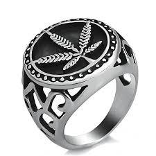 silver steel rings images Jajafook stainless steel ring weed marijuana cannabis leaf symbol jpg