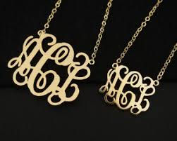 Monogrammed Necklace Monogrammed Necklace Gold 3 Initial Necklace 18k Gold Necklace